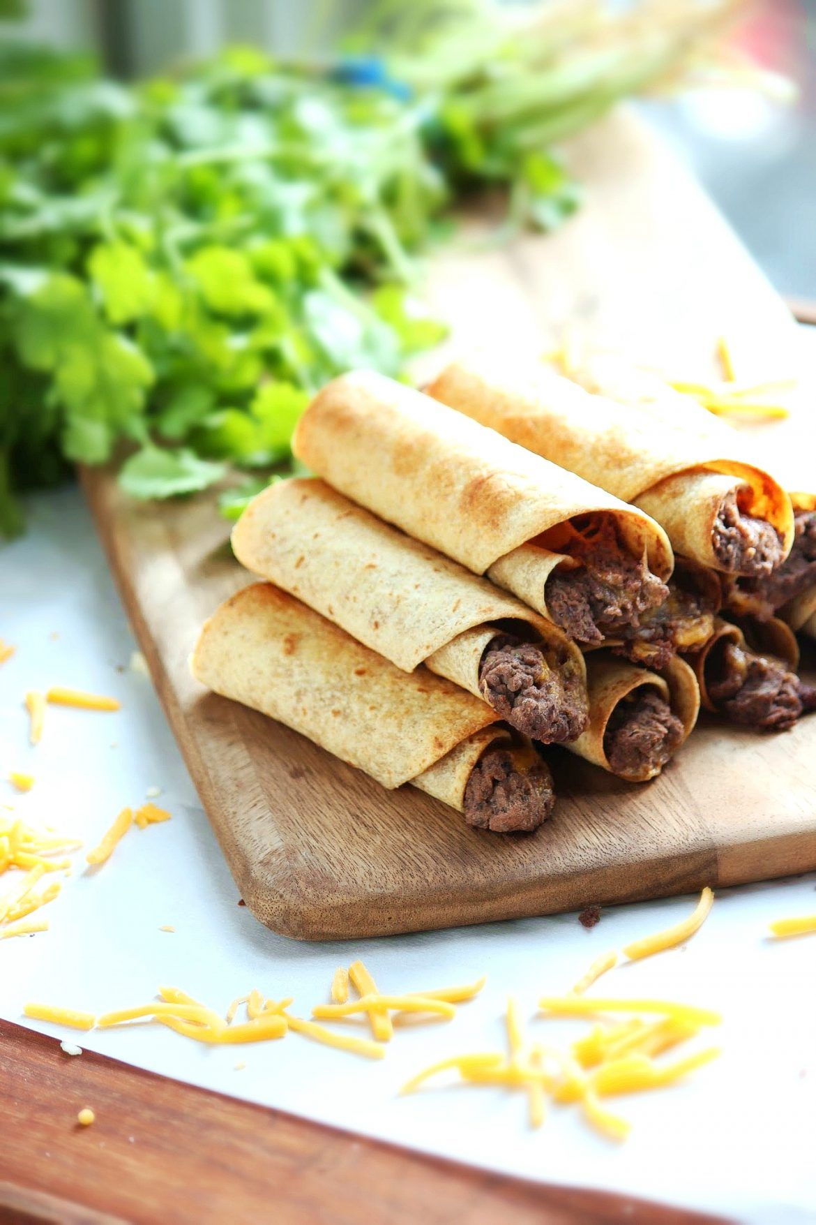 Baked Bean and Cheese Taquitos