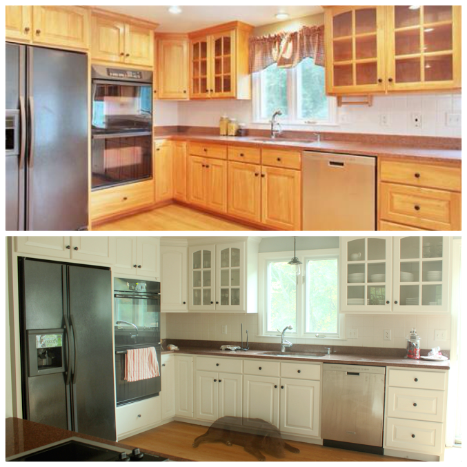 Before And After Makeover Painting Wood Kitchen Cabinets White